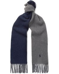 Polo Ralph Lauren - Reversible Fringed Virgin Wool-blend Scarf - Lyst