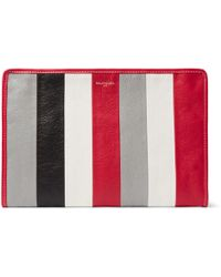 Balenciaga - Bazar Striped Textured-leather Pouch - Lyst