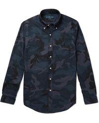 Polo Ralph Lauren Slim-fit Camouflage-print Button-down Collar Cotton-twill Shirt - Blue
