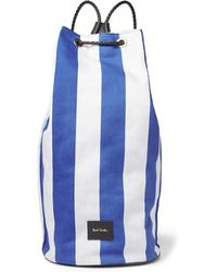 Paul Smith | Leather-trimmed Striped Canvas Backpack | Lyst