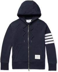 Thom Browne - Striped Loopback Cotton-jersey Zip-up Hoodie - Lyst