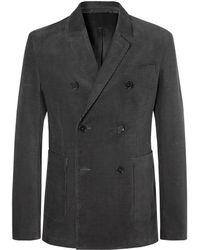 MR P. - Dark-grey Slim-fit Double-breasted Cotton-corduroy Blazer - Lyst