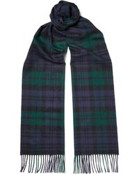 Johnstons   Black Watch Checked Cashmere Scarf   Lyst