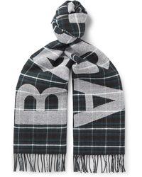 Balenciaga - Fringed Logo-jacquard Checked Wool Scarf - Lyst