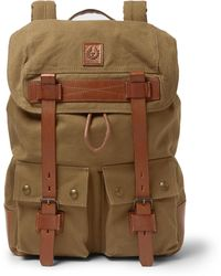 Belstaff - Leather-trimmed Canvas Backpack - Lyst