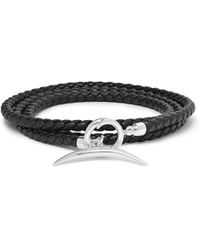 Shaun Leane - Quill Woven Leather And Silver Wrap Bracelet - Lyst