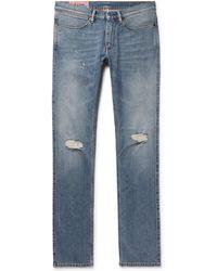 Acne Studios - Max Slim-fit Distressed Denim Jeans - Lyst