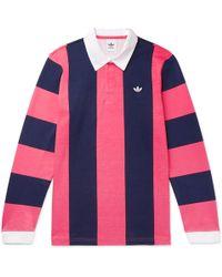 adidas Originals - Twill-trimmed Striped Cotton-jersey Rugby Shirt - Lyst