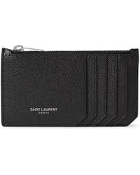 Saint Laurent - Pebble-grain Leather Cardholder - Lyst