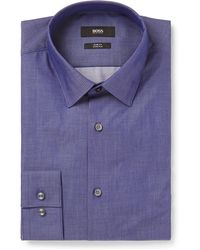 BOSS - Blue Isko Slim-fit Stretch-cotton Chambray Shirt - Lyst