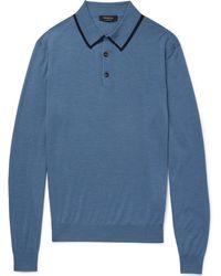 Ermenegildo Zegna - Contrast-tipped Wool And Silk-blend Polo Shirt - Lyst