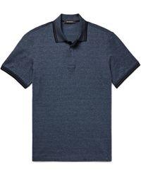 Ermenegildo Zegna - Slim-fit Contrast-tipped Herringbone Cotton Polo Shirt - Lyst