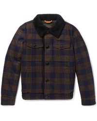 Tod's - Shearling-lined Checked Wool Bomber Jacket - Lyst