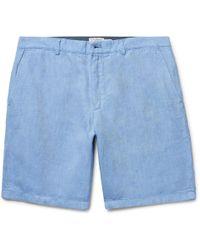 CLUB MONACO Maddox Mélange Linen Shorts - Blue 4OwOb