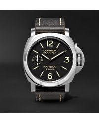 Officine Panerai - Luminor Marina 8 Days Acciaio 44mm Stainless Steel And Leather Watch - Lyst