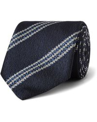 Ermenegildo Zegna - 7cm Striped Textured-silk Tie - Lyst