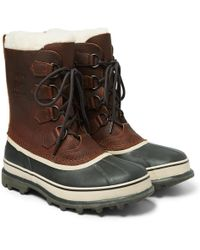 Sorel - Caribou Waterproof Full-grain Leather And Rubber Snow Boots - Lyst