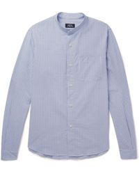 A.P.C. - Robinson Grandad-collar Striped Cotton-seersucker Shirt - Lyst