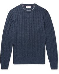 Brunello Cucinelli - Slim-fit Contrast-tipped Cable-knit Linen And Cotton-blend Sweater - Lyst