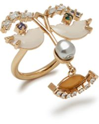 Mulberry - Face Ring In Yellow Brass Metal, Enamel, Swarovski Strass And Pearls - Lyst