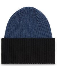 Mulberry - Knitted Beanie In Bright Navy Lambswool - Lyst