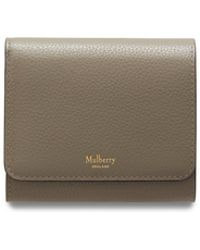 831455f80f Mulberry Plaque Small Zip Coin Pouch In Oak Natural Grain Leather in Brown  - Lyst