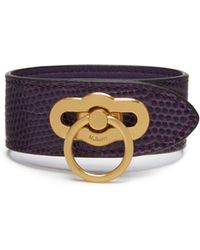 Mulberry - Amberley Bracelet In Dark Violet Embossed Lizard - Lyst