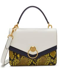 Mulberry - Harlow Satchel In White, Midnight And Citrus Silky Calf And Ayers - Lyst