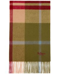 Mulberry Small Check Scarf In Moss Lambswool - Green