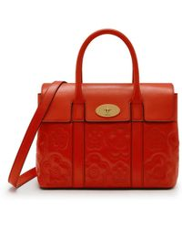 Mulberry - Small New Bayswater In Hibiscus Red Quilted Flower Silky Calf - Lyst
