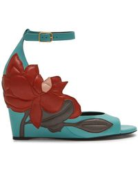 Mulberry - Magnolia Patchwork Wedge Sandal In Frozen, Rust, Clay And Blush Calfskin - Lyst
