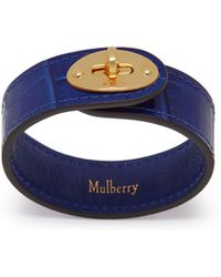 Mulberry - Bayswater Leather Bracelet In Cobalt Blue Croc Print - Lyst