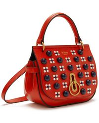 682acbbe7fa0 Mulberry - Small Amberley Satchel In Hibiscus Red Silky Calf Geo Floral  With Cabochon - Lyst