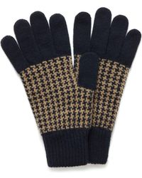 Mulberry - Houndstooth Knitted Gloves In Navy And Camel Lambswool - Lyst