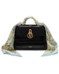 Mulberry - Mini Seaton With Scarf In Black Croc Print - Lyst 8faf33c5ddbf2