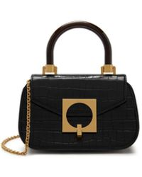 852298c3d0436 Mulberry - The Mews In Black Shiny Croc With Geometric Plaque - Lyst