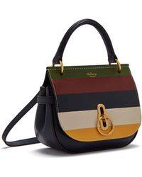 Mulberry - Small Amberley Satchel In Multicolour Silky Calf Horizontal Stripe - Lyst