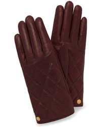 Mulberry - Quilted Nappa Gloves In Burgundy Nappa Leather - Lyst