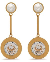 Mulberry - Dropped Coin Earring In Gold And White Brass And Strass - Lyst