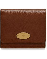 Mulberry Plaque Small French Purse In Oak Natural Grain Leather