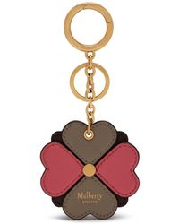Mulberry - Flower Keyring In Geranium Pink Silky Calf - Lyst