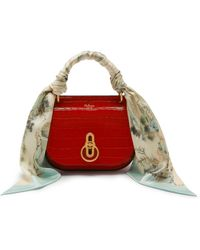 Mulberry - Small Amberley Satchel With Scarf In Scarlet Croc Print - Lyst
