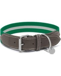 Mulberry - 3cm Graduate Collar In Steel Green Leather And Striped Webbing - Lyst