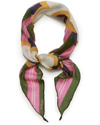 a3751c9eb44 Floral Stripe Diamond Scarf In Dark Olive Cotton
