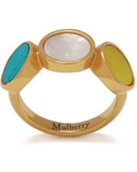Mulberry - Single Chain Ring In Gold, Turquoise And Yellow Brass And Stones - Lyst