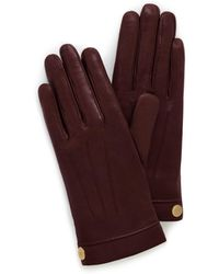 Mulberry - Soft Nappa Leather Gloves In Burgundy Nappa Leather - Lyst