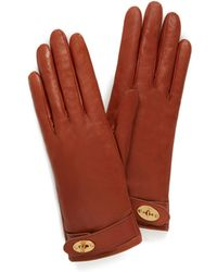 Mulberry - Darley Gloves In Cognac Smooth Nappa - Lyst