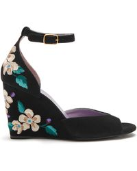 Mulberry - Flower Embroidered Wedge Sandal - Lyst