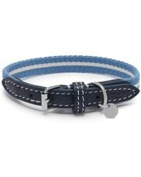 Mulberry - 2cm Graduate Collar In Ink Blue Leather And Striped Webbing - Lyst