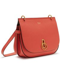 Mulberry - Amberley Satchel In Coral Rose Small Classic Grain - Lyst